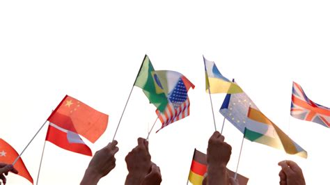 Different flags in human hands